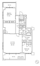 JR山手線 目黒駅 徒歩7分の賃貸マンション 3階2LDKの間取り