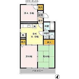埼玉県吉川市道庭1の賃貸アパートの間取り