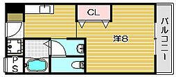 大阪府茨木市本町の賃貸マンションの間取り