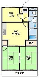 愛知県豊田市御幸本町2丁目の賃貸マンションの間取り