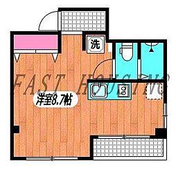 京王線 幡ヶ谷駅 徒歩10分の賃貸マンション 3階ワンルームの間取り