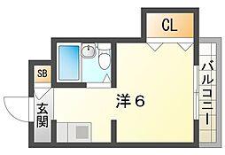 京阪本線 土居駅 徒歩7分の賃貸マンション 3階ワンルームの間取り