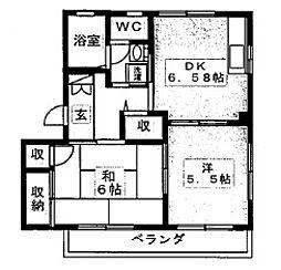 クレール田喜野井[B202号室号室]の間取り