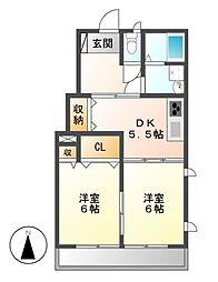グレーシア中郷B[2階]の間取り