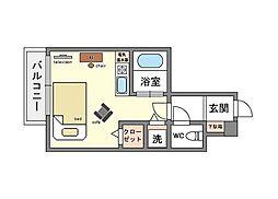 家具・家電付きフレックス博多5[3階]の間取り