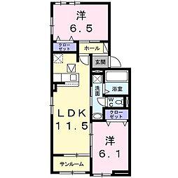 フェリア太田B 1階2LDKの間取り