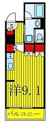 都営三田線 西巣鴨駅 徒歩6分の賃貸マンション 2階ワンルームの間取り