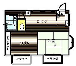 吉川第2コーポ[201号室]の間取り