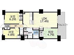 大阪モノレール本線 少路駅 徒歩5分の賃貸マンション 8階3LDKの間取り