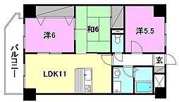 ファミール道後姫塚[201 号室号室]の間取り