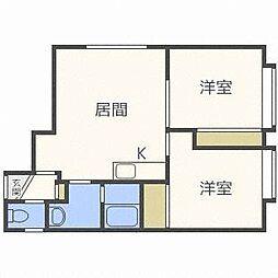 北海道札幌市白石区東札幌五条4丁目の賃貸アパートの間取り