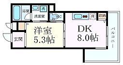 エイショウライフ 3階1DKの間取り