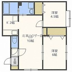 北海道札幌市北区篠路四条8丁目の賃貸アパートの間取り