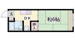 兵庫県神戸市長田区大谷町2丁目の賃貸アパートの間取り