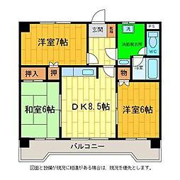 徳島県板野郡藍住町富吉字中新田の賃貸マンションの間取り