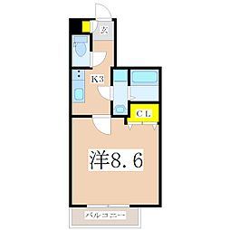 鹿児島市電1系統 騎射場駅 徒歩9分の賃貸マンション 1階1Kの間取り