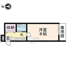 JR山陰本線 二条駅 徒歩16分の賃貸マンション 1階1Kの間取り