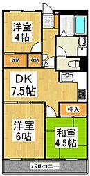 レジデンス三原[4階]の間取り