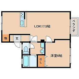 JR桜井線 長柄駅 徒歩17分の賃貸アパート 2階1LDKの間取り