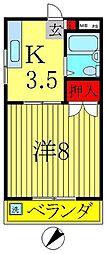 三田ハイツ[205号室]の間取り
