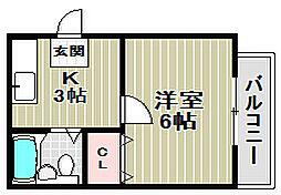 大阪府堺市堺区寺地町西2丁の賃貸アパートの間取り