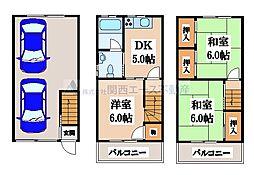 西堤本通西3丁目貸家[3階]の間取り