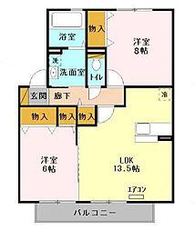 ヒルサイドコート 弐番館[2階]の間取り