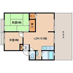 奈良県五條市二見7丁目の賃貸アパートの間取り