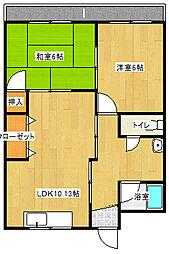 山一アパート[3号室]の間取り