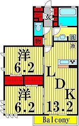 クレスト竹の塚[3階]の間取り