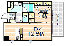 Osaka Metro谷町線 天神橋筋六丁目駅 徒歩3分の賃貸マンション 7階1LDKの間取り