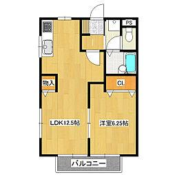 青芳コーポ[2階]の間取り