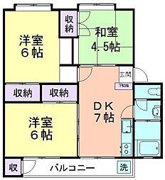 久米川駅東住宅25号棟[304号室]の間取り