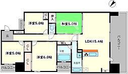 レジディア都島I 9階4LDKの間取り