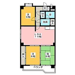 レジデンス栄光[6階]の間取り