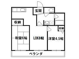 第33長栄今小路メリーハイツ[2階]の間取り