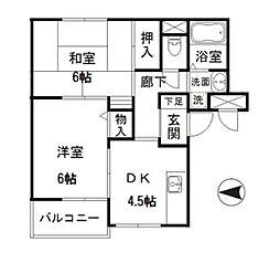 東京メトロ千代田線 根津駅 徒歩7分の賃貸マンション 1階2DKの間取り