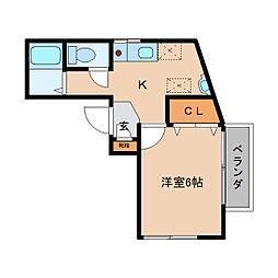 近鉄大阪線 関屋駅 徒歩2分の賃貸マンション 1階1Kの間取り
