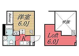 JR内房線 本千葉駅 徒歩12分の賃貸アパート 1階1Kの間取り