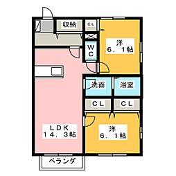 ウィステリアB[2階]の間取り