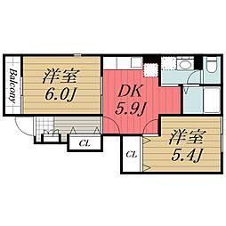 JR総武本線 榎戸駅 徒歩10分の賃貸アパート 1階2DKの間取り