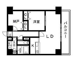 西辻マンション 10階1SLDKの間取り