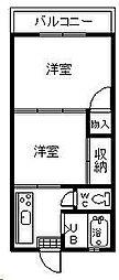 レジデンス江光[202号室]の間取り