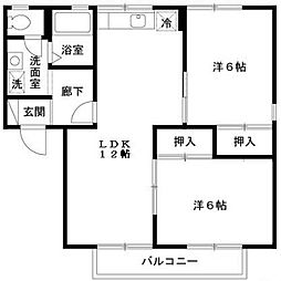 セジュールWADA[2階]の間取り