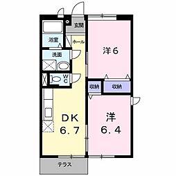 カントリーハイツ梅2[1階]の間取り