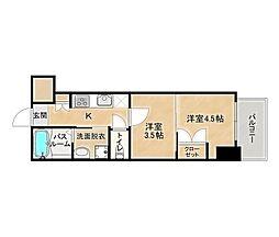 JR鹿児島本線 博多駅 徒歩10分の賃貸マンション 4階2Kの間取り