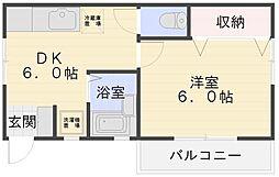 コーポYU−RAKU[2F号室]の間取り