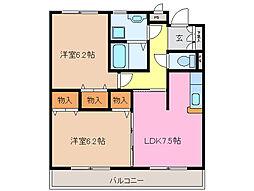 三重県松阪市中央町の賃貸マンションの間取り