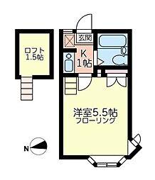 神奈川県横浜市港南区港南6の賃貸アパートの間取り
