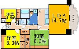 兵庫県神戸市中央区江戸町の賃貸マンションの間取り